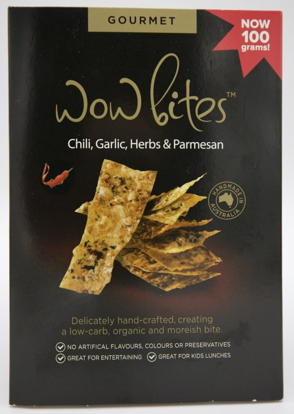 Delicious gourmet chilli garlic herbs and parmesan savoury crackers - single box