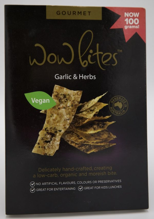 Delicious garlic & herb crackers, vegan cruelty free, local ingredients, in gourmet packaging single box